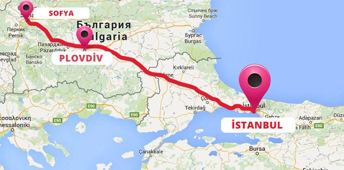 Sofya Plovdiv Turu Haritası